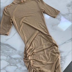 Nude mini turtleneck dress